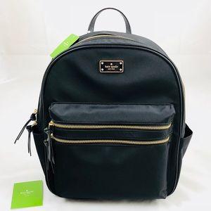 New! Kate Spade Large Nylon Backpack Black Gold